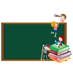 Background template with kids and blackboard vector