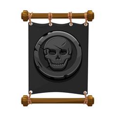 Banner black pirate mark stone skull for game vector