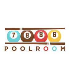 Billiard club poolroom label template of vector