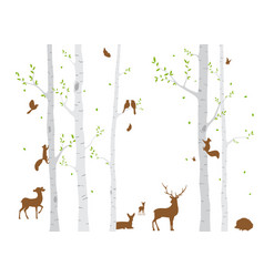 birch tree with deer and birds vector image