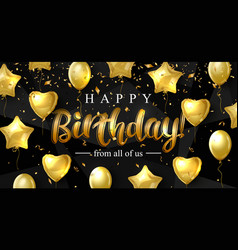 Birthday background with gold balloons in the form vector