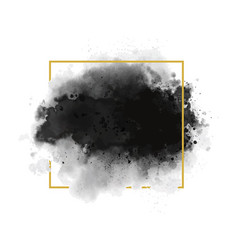black watercolor with gold line frame vector image