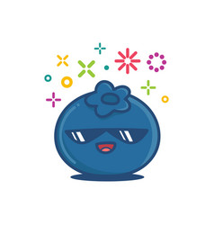Blueberry kawaii emoticon cartoon vector