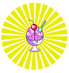 brain icecream funny cartoon icon vector image