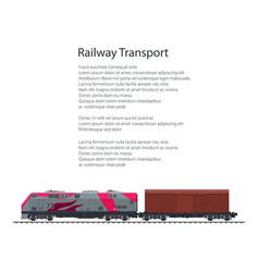 Brochure locomotive with closed wagon vector