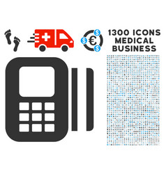card reader icon with 1300 medical business icons vector image