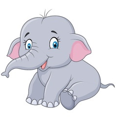 Cartoon baby elephant sitting isolated vector image