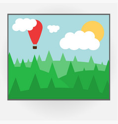 Cartoon style photo frame with day nature vector
