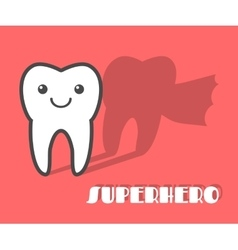 Cartoon tooth with superhero shadow vector