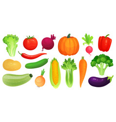 cartoon vegetables fresh vegan veggies raw vector image