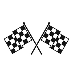 Checkered racing flags icon simple style vector