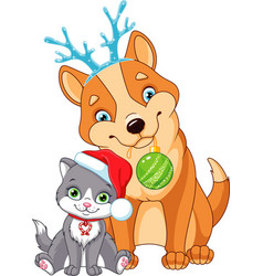 Christmas dog with cat vector