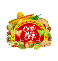 Cinco de mayo food drink and mexican sombrero vector