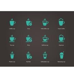 Coffee cup and Tea mug icons vector image