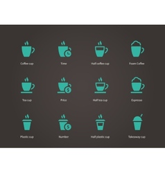 Coffee cup and Tea mug icons vector image vector image