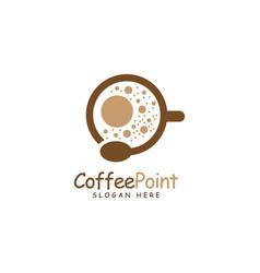 Coffee point logo design with bean vector