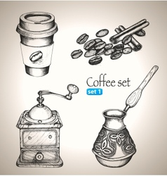 Coffee set beans mill maker and cup vector