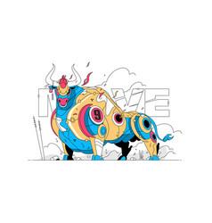 Colourful big bull vector