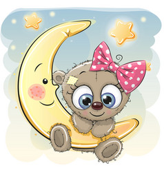 Cute cartoon teddy bear girl vector
