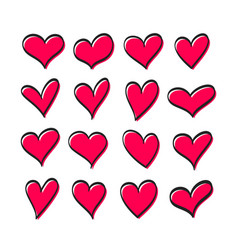 cute set hearts vector image