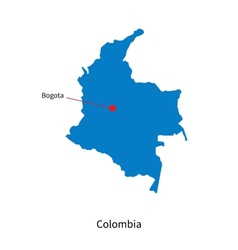 Detailed map colombia and capital city bogota vector