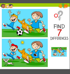 Differences game with boys and dogs vector