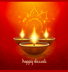 Diwali light candle background happy celebration vector