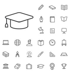 Education outline thin flat digital icon set vector