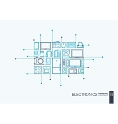 Electronics integrated thin line symbols vector image