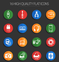 Electronics repair 16 flat icons vector