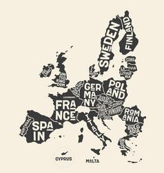 European union europe poster map european vector