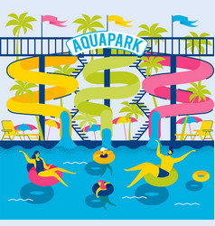 family in water park relaxing in rubber rings vector image