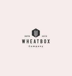 farmer box wheat logo hipster vintage retro icon vector image