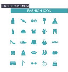 fashion icons set blue vector image