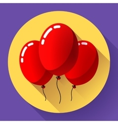 Festive red air balloons icon holiday symbol vector