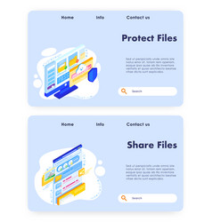 file sharing website landing page template vector image