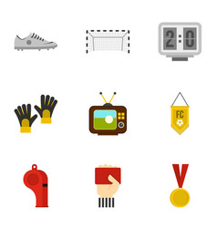 Football things icons set flat style vector