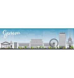 Geneva skyline with gray landmarks and blue sky vector