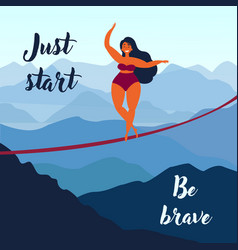 girl on slackline keep your balance motivation vector image