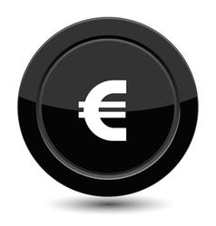 Glossy black euro button vector