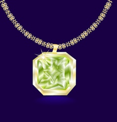 gold necklace with a green vector image