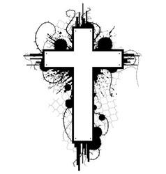 Grunge cross emblem vector