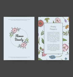 hand drawn flowers card or flyer template vector image