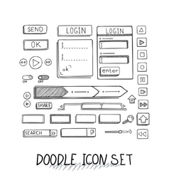 Hand drawn icons set website development vector