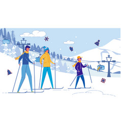 Happy united family skiing in mountains resort vector