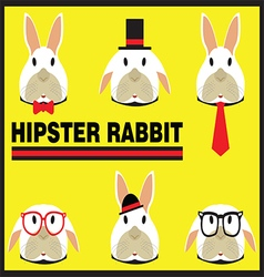 Hipster Rabbit Flat Cartoon vector image