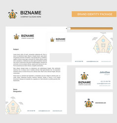 hunted house business letterhead envelope and vector image