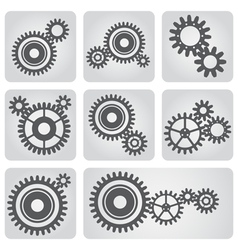 icons set gear wheels vector image