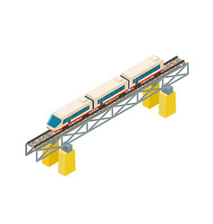 isometric railroad train on railway rails on piles vector image