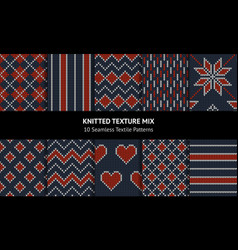 knitted pattern set vector image